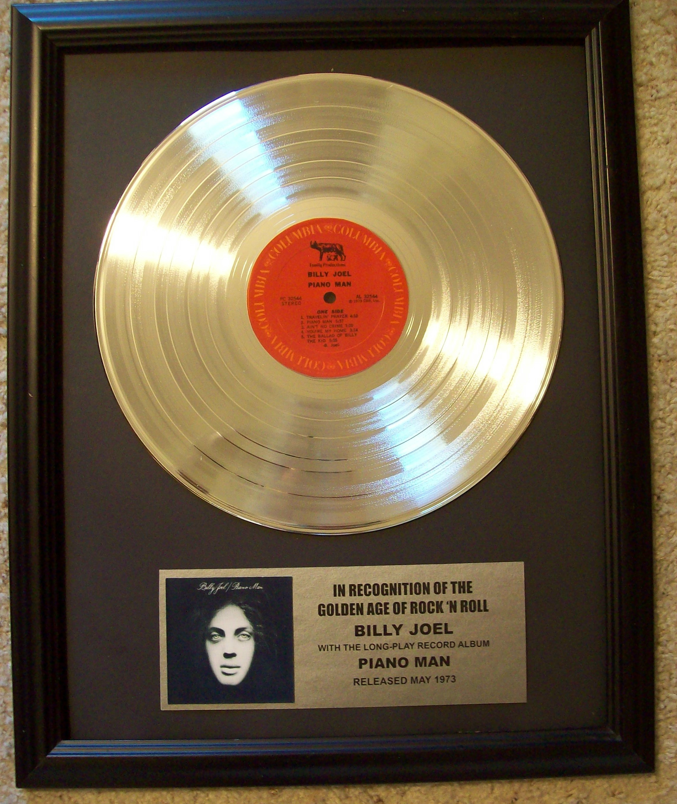 Image for Billy Joel Piano Man Platinum Record