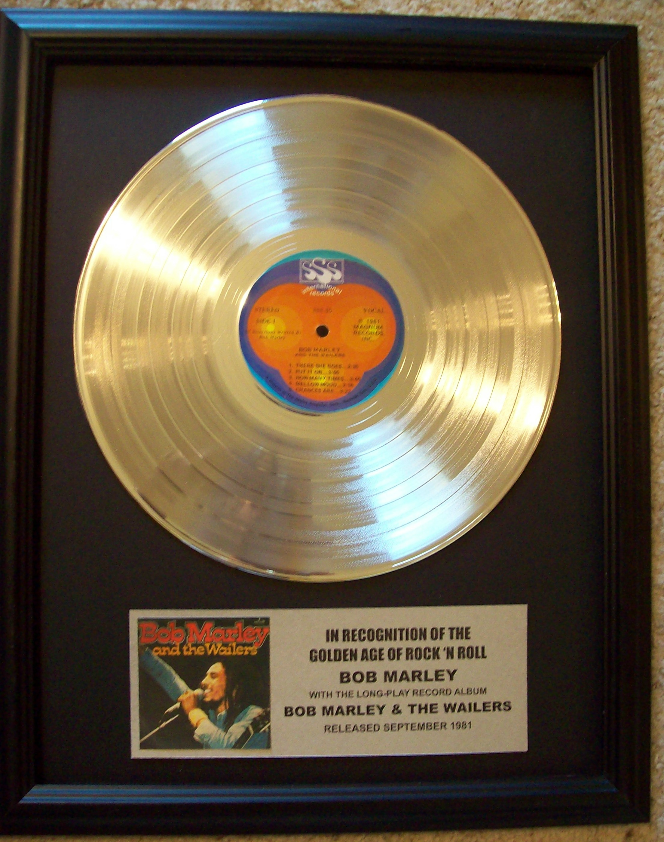 Image for Bob Marley and the Wailers Platinum Record