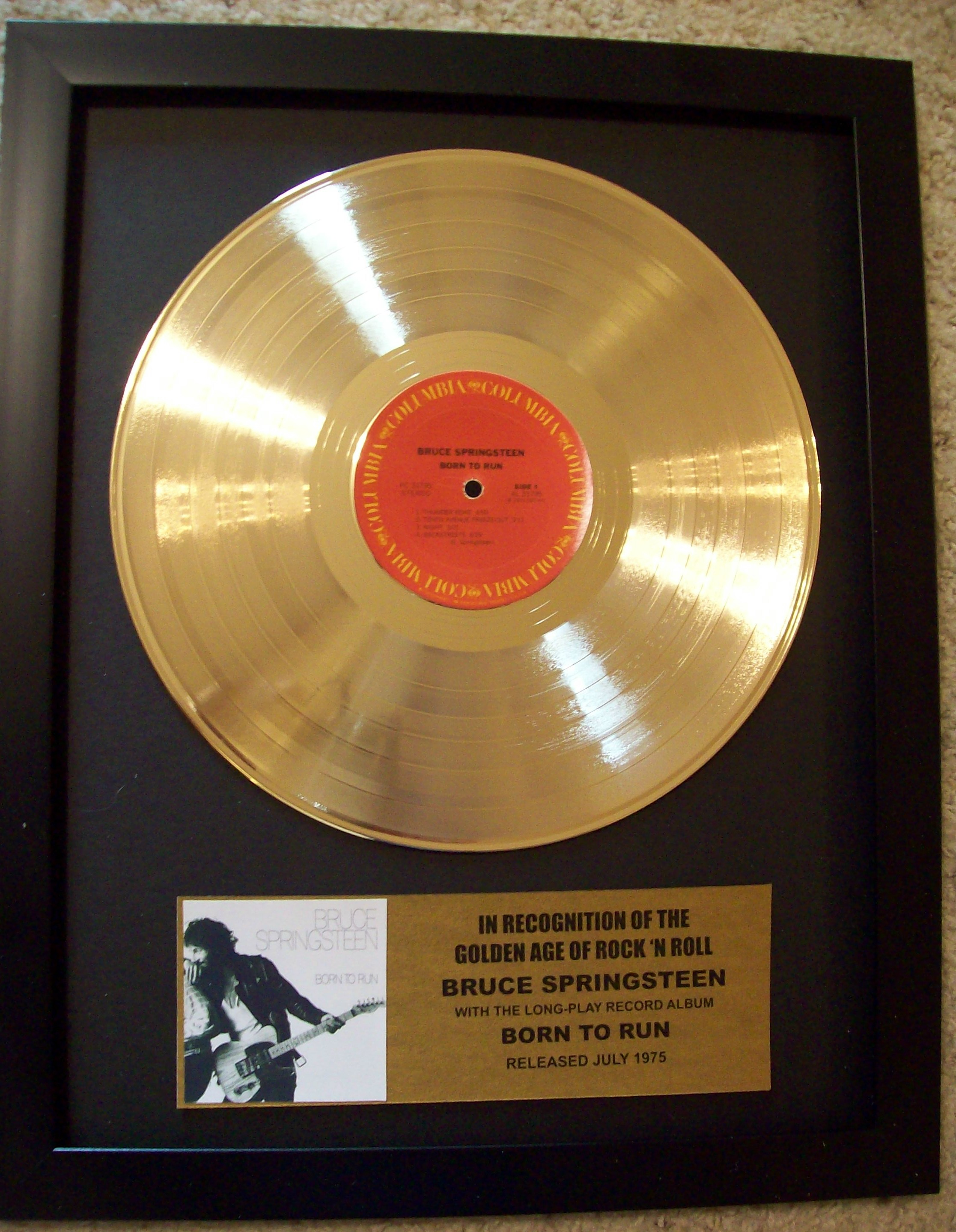 Image for Bruce Springsteen Born To Run Gold To Record