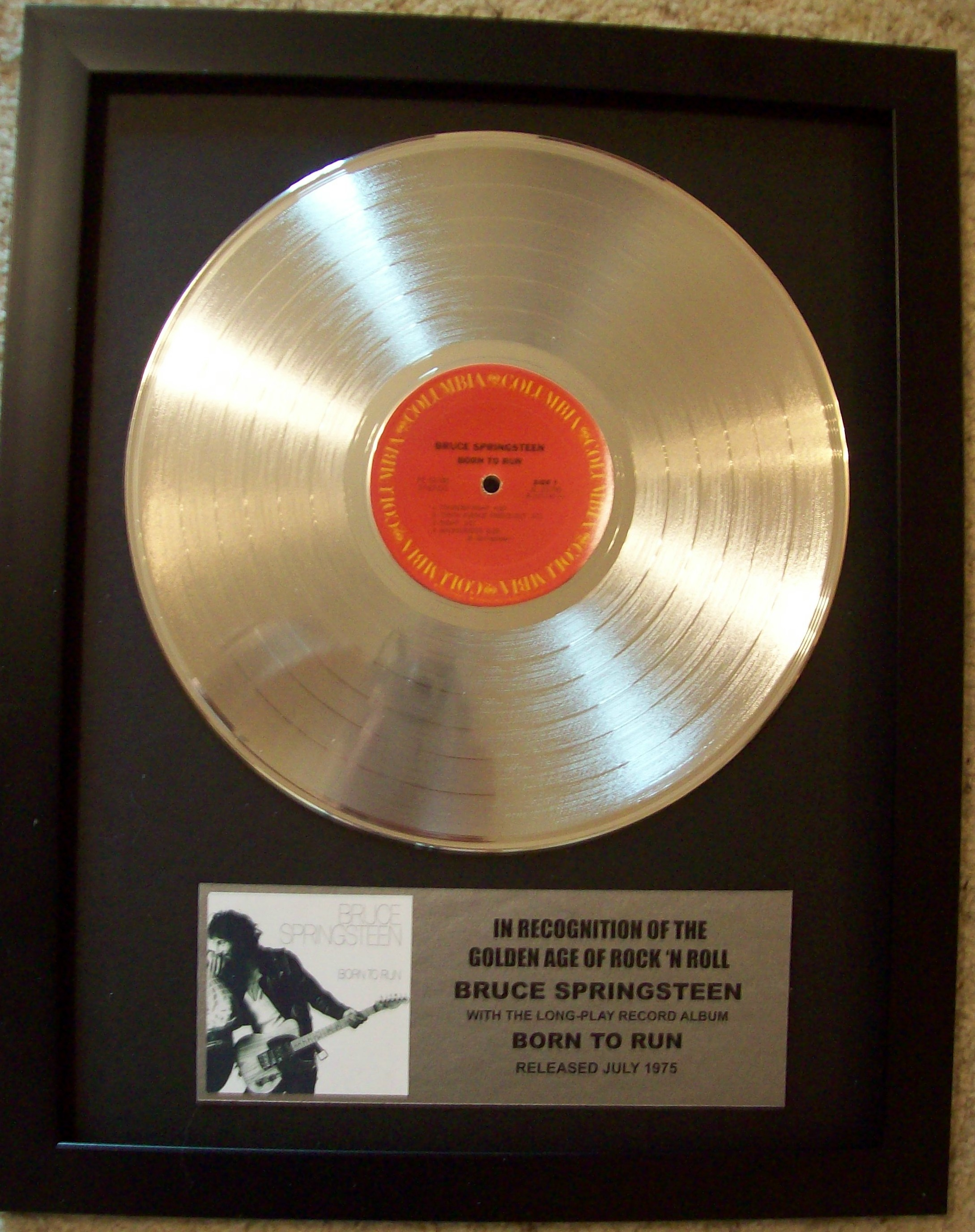 Image for Bruce Springsteen Born To Run Platinum Record