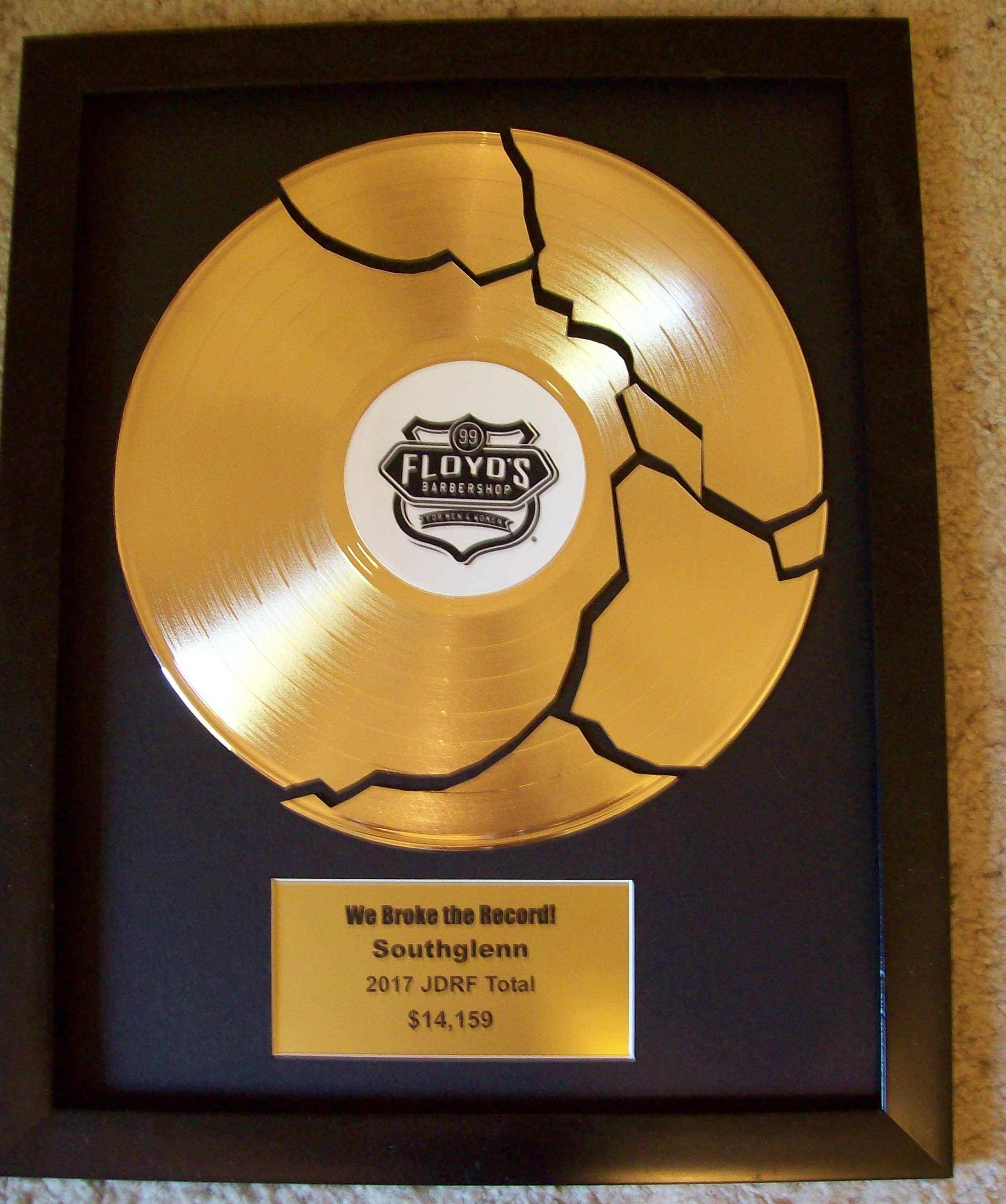 Image for Custom Gold Broken Record Award/Trophy