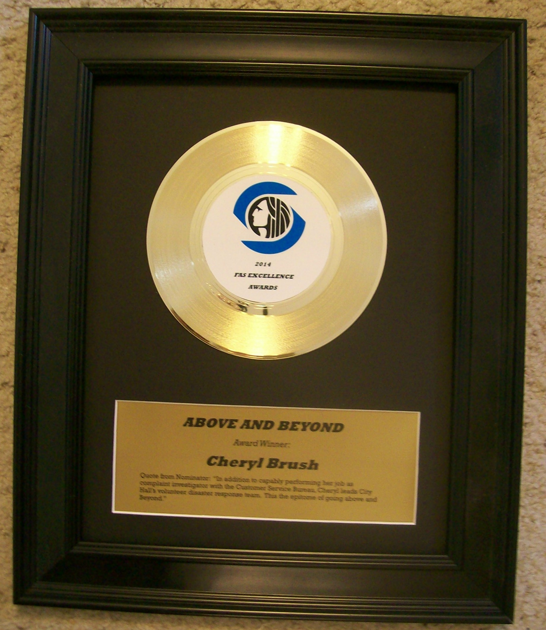 Image for Custom Gold 45rpm Record Award/Trophy