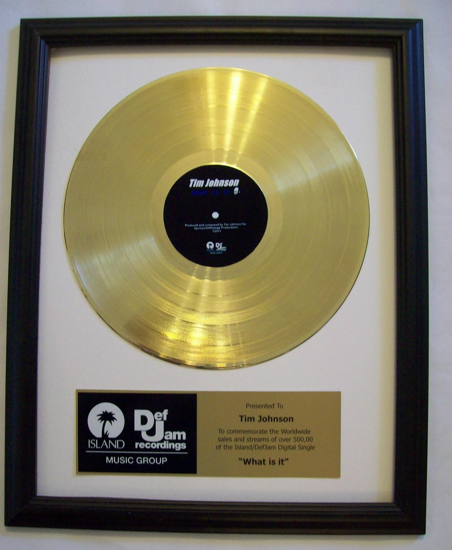 Custom Gold Lp Record Award Trophy