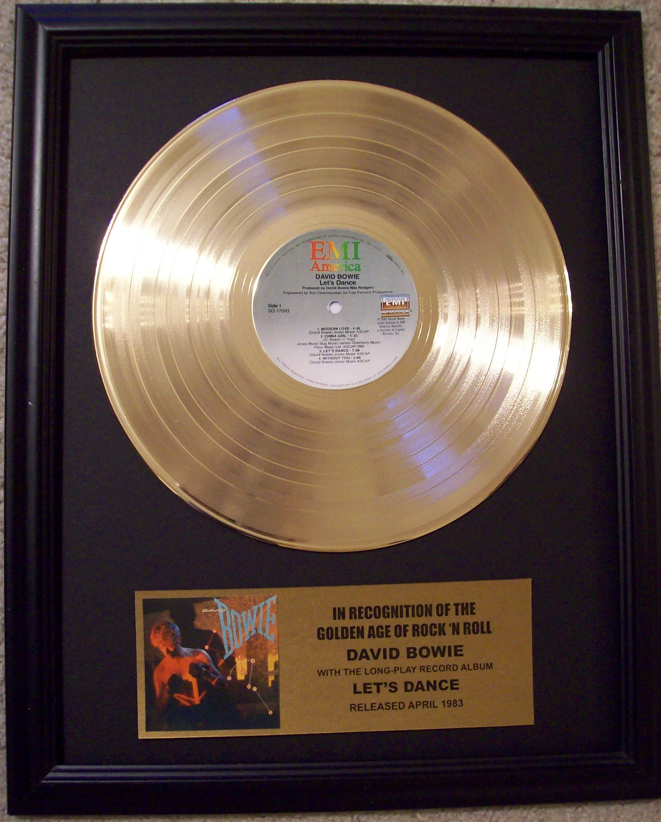 Image for David Bowie Let's Dance Gold Record Album