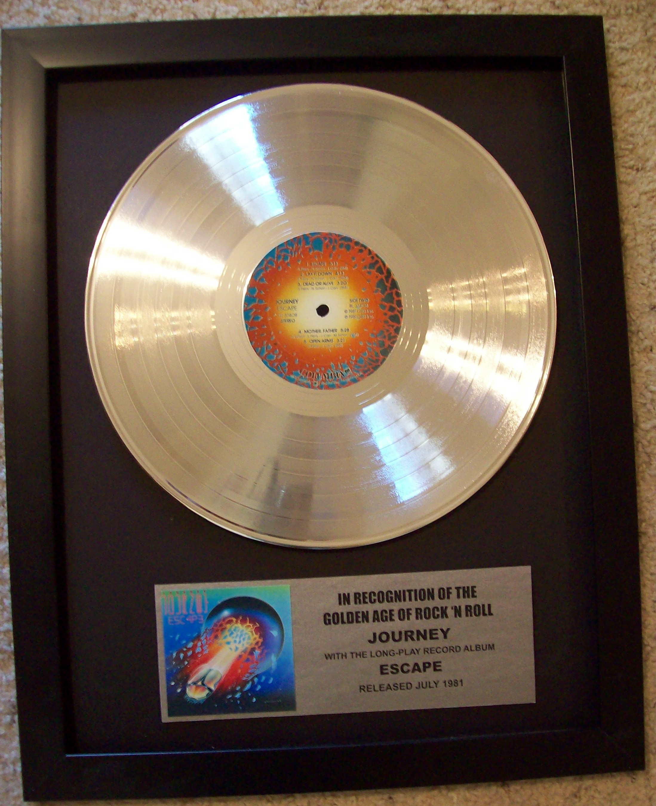 Image for Journey ESCAPE LP Platinum Record Display