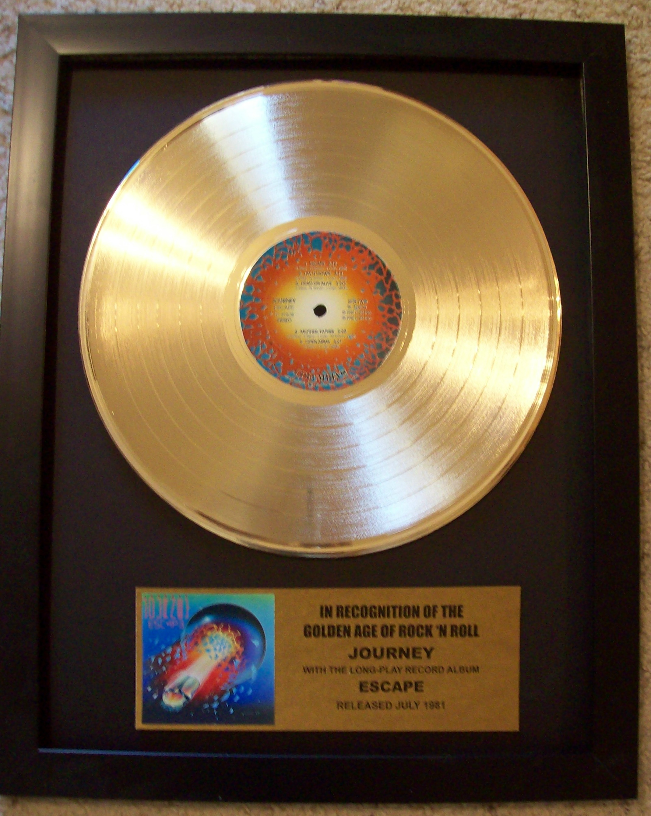 Image for Journey ESCAPE LP Gold Record Display