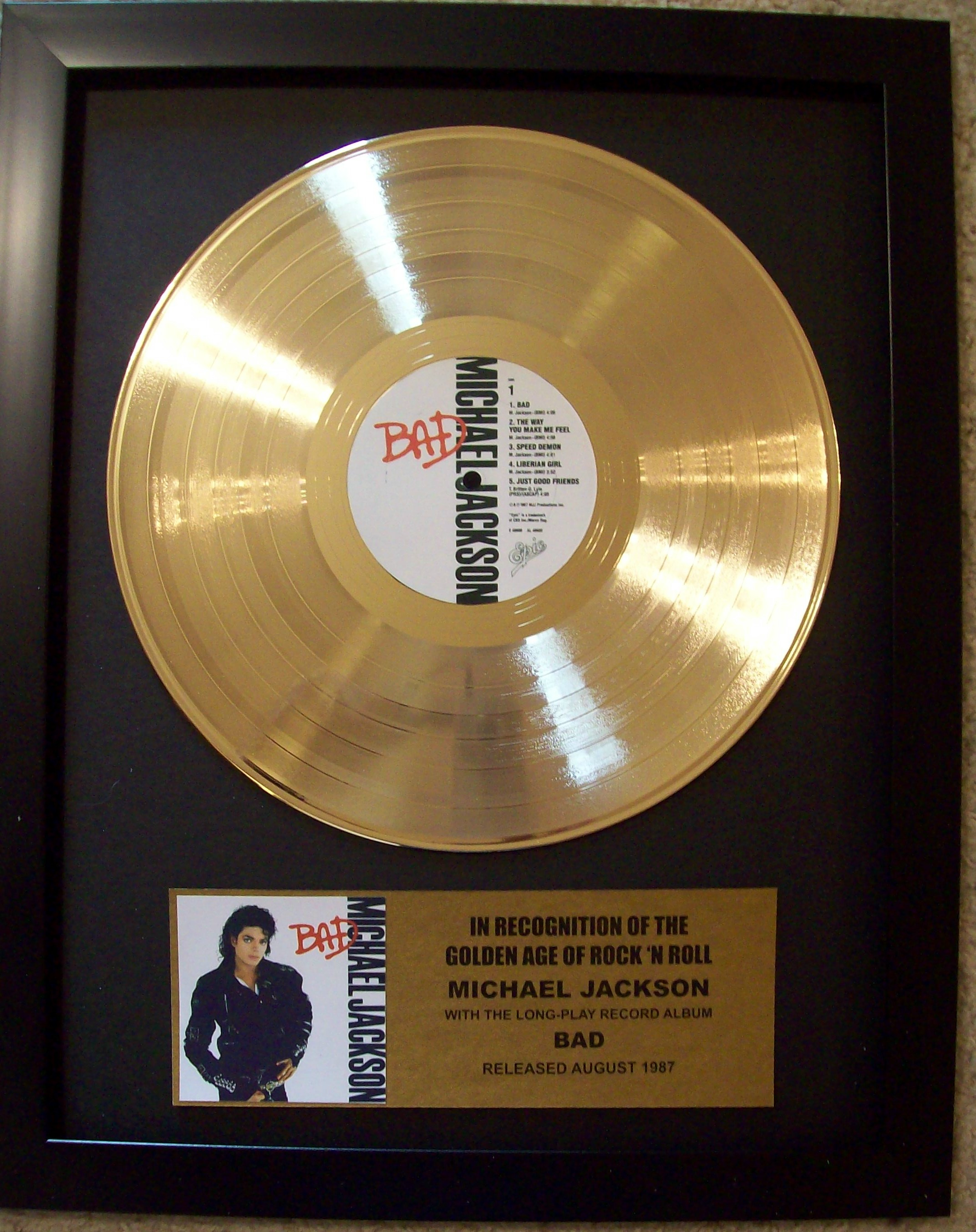 Image for Michael Jackson BAD Gold LP Record