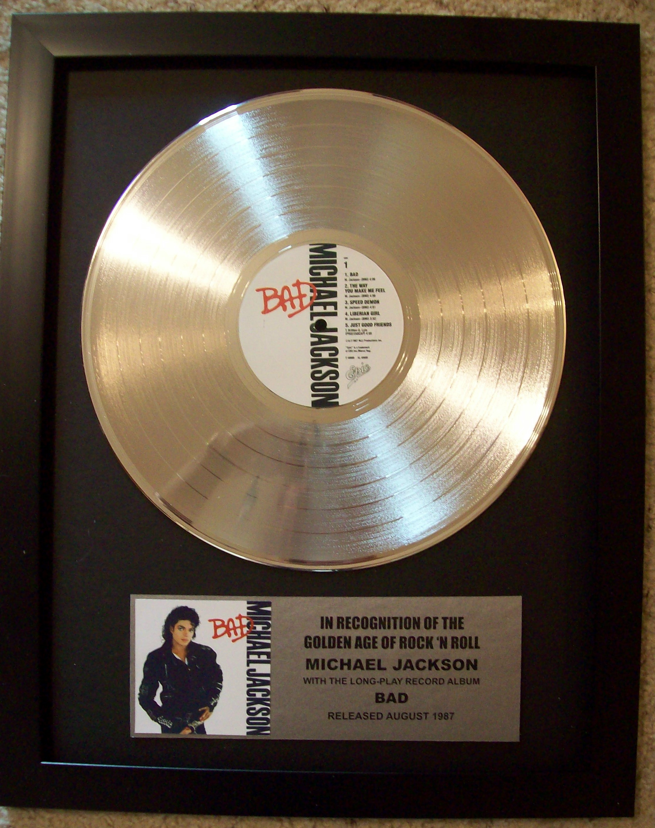 Image for Michael Jackson BAD Platinum LP Record