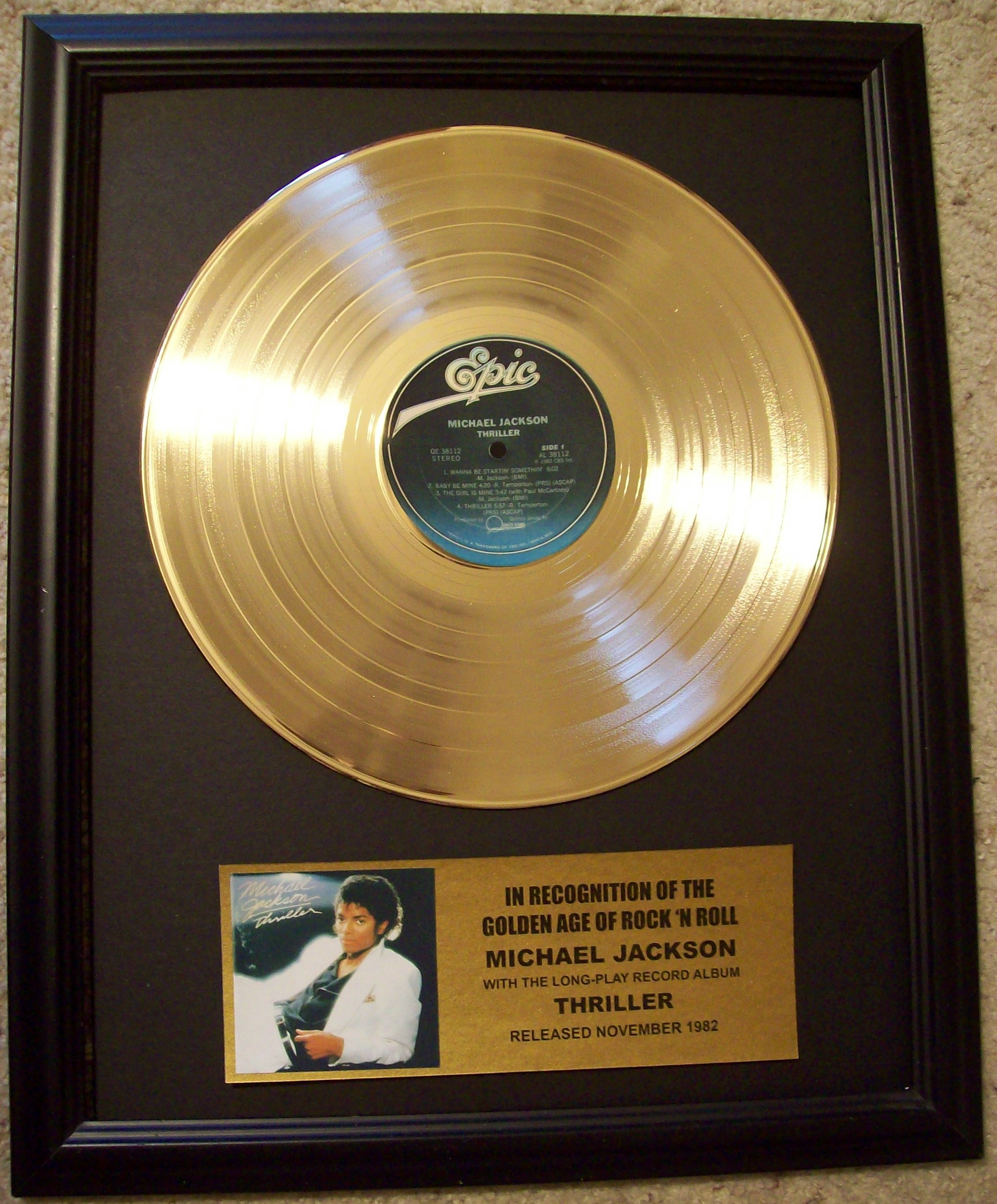 "Image for Michael Jackson ""Thriller"" Gold LP Record"