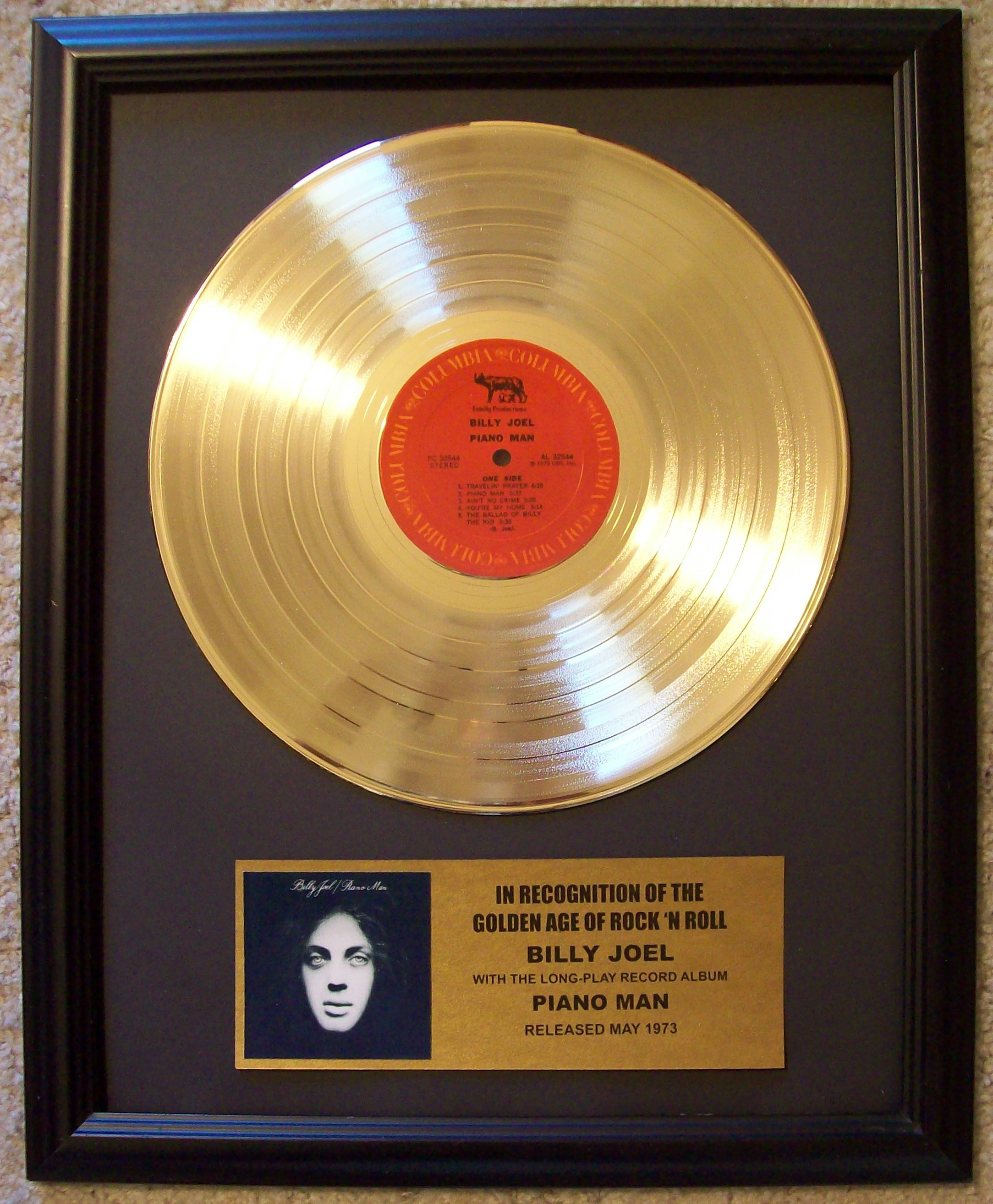 Image for Billy Joel Piano Man Gold Record Album