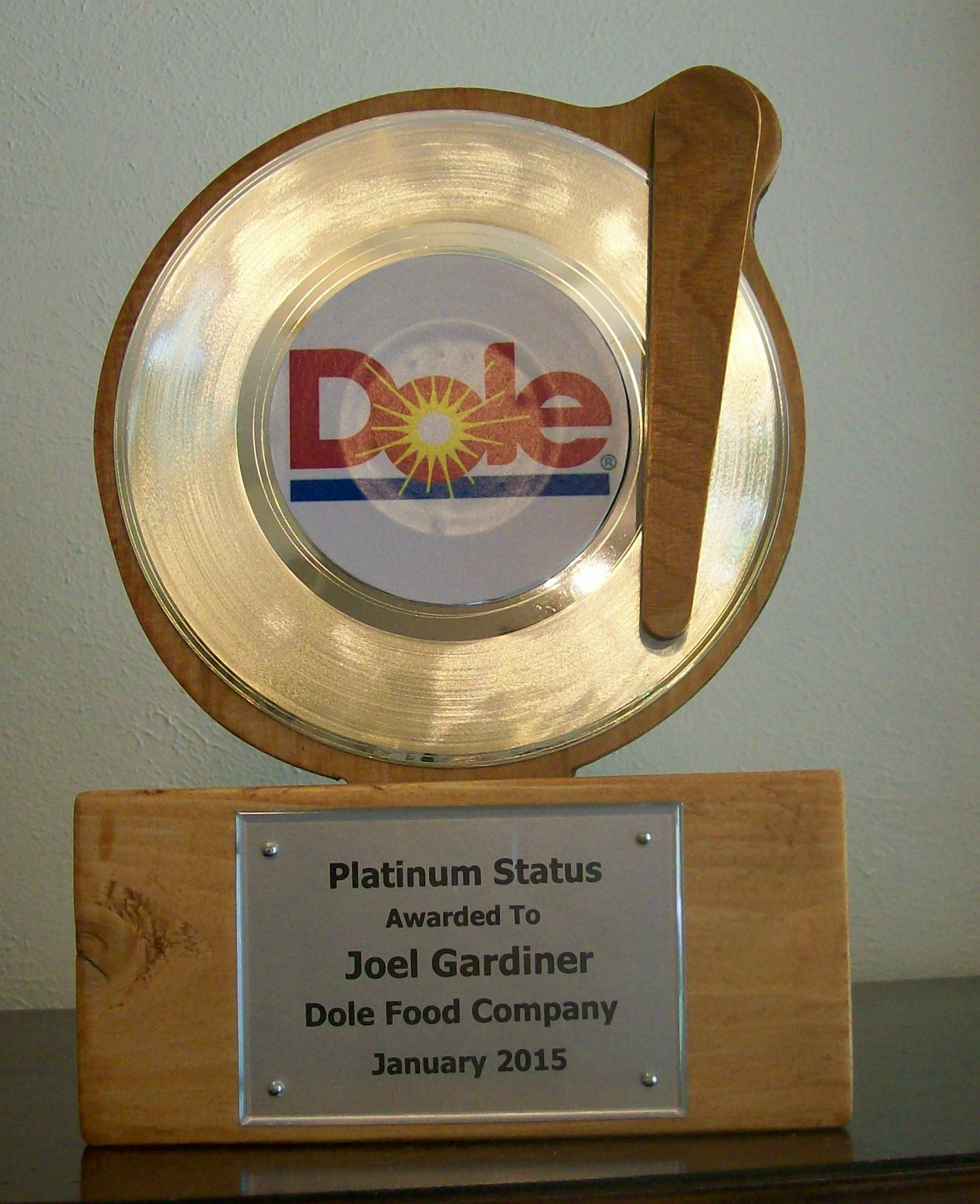 Image for Custom Platinum Mantel/Desktop Award Trophy