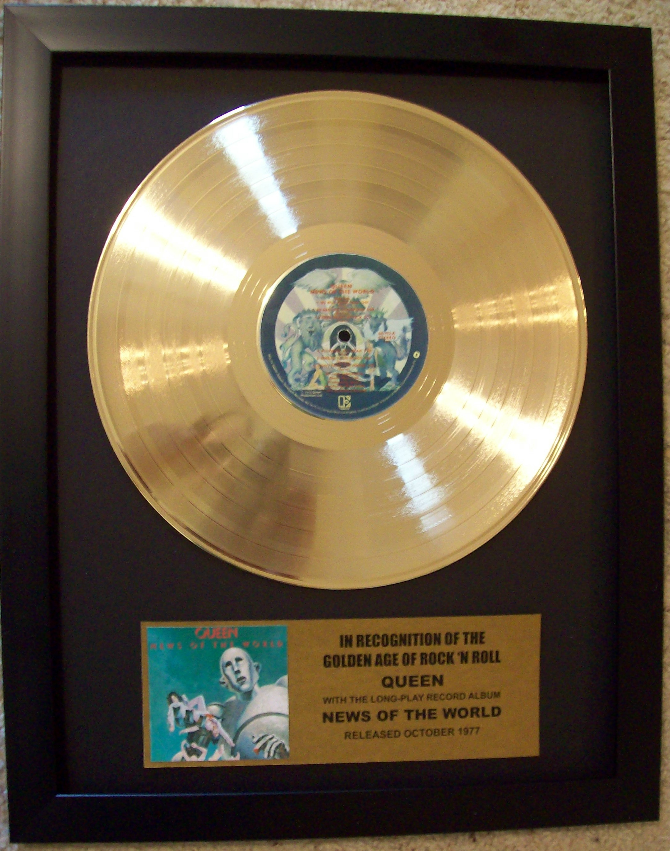 Image for Queen News Of The World Gold Record